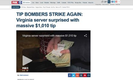 FOX5DC: TIP BOMBERS STRIKE AGAIN: Virginia server surprised with massive $1,010 tip